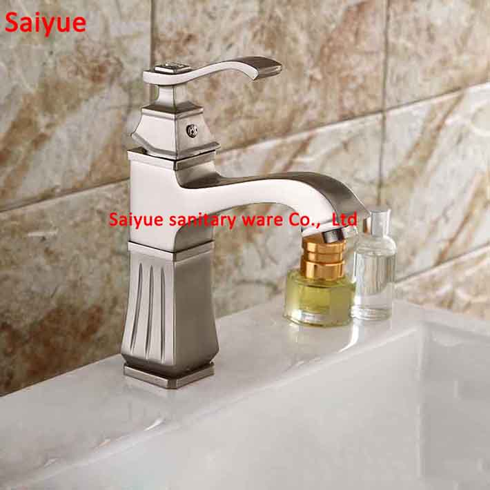 Crystal types Creative New Shape Single Handle Basin Mixer Faucet Widespread Nickel Brushed Bathroom Sink Hot Cold designer Taps