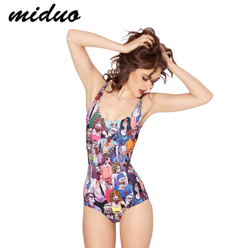 miduo colorful halloween spoof zombie swimsuit monokini women beach wear one pieces bathing suit for ladies - Halloween Swimsuit