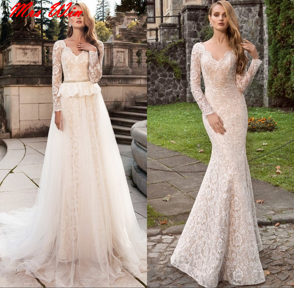 Vestido de Noiva Long Sleeves Lace Mermaid Wedding Dresses ...