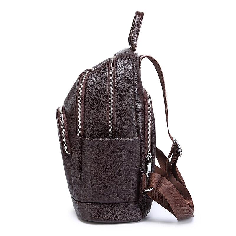 Image 4 - Fashion Women Backpack Genuine Leather for Teenage Casual Luxury  Travel Backpack Mini Laptop Schoolbag Special Purpose  BackpackBackpacks