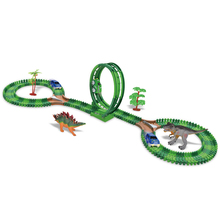 153Pcs Kids Diy Assemble Jurassic Dinosaur Rail Race Track Car Toy Blocks Railway Roller Coaster Racing Tracks Vehicle To