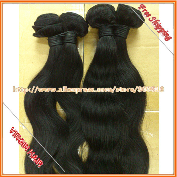 "DHL Free Shipping 10pcs/lot 14""-28"", Good Price Virgin Brazilian Remy Hair Extensions, Color 1b#, Body Wave Machine Weft"