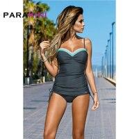 PARAKINI Solid Patchwork Color 2 Pieces Push Up Bikinis Set 2018 New Vest Sports Pants Tankini Swimwear Women High Waisted Suits