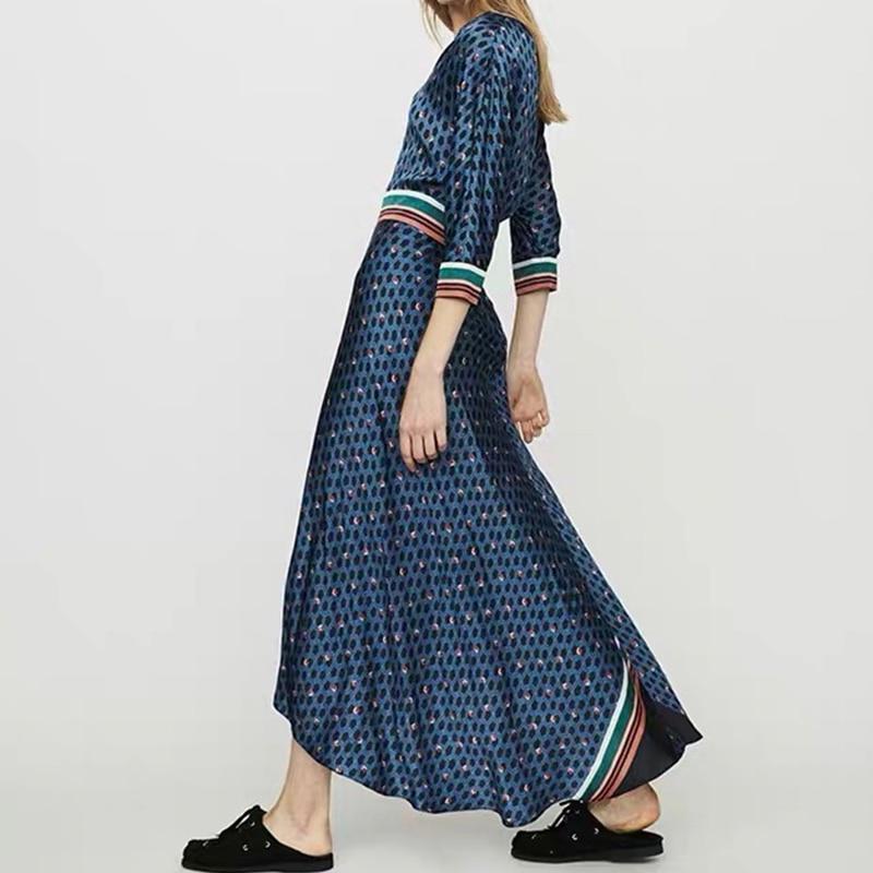 Women Dress 2019 Retro Geometric Print V neck Multicolored Color Matching Waist Split maxi Dress