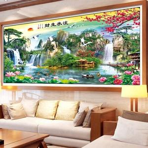 Image 2 - New DMC DIY Chinese Cross Stitch Kits Embroidery Needlework Sets Landscape Painting Printed Patterns Needlework Home Decoration