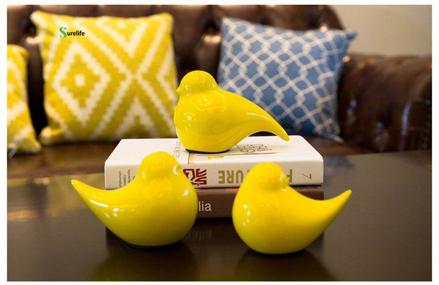 3pcs Ceramic Cute Bird Decorations Creative Home Supplies Multiple Color Birds Decor