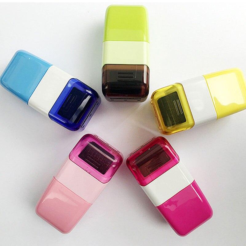 1 stück Tragbare 15mm Identität Diebstahl Schutz Code Schutz Stempel Dichtung Roller Selbstfarb Lager Stempel Schutz Vertrauliche Dichtung