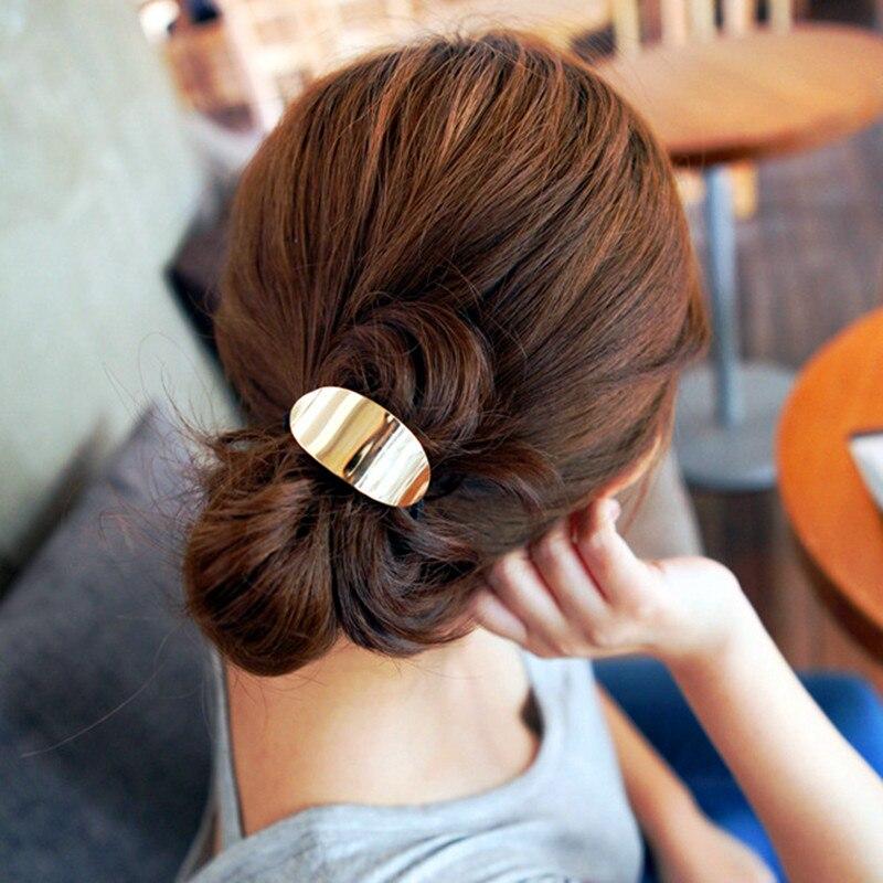 Купить с кэшбэком New Fashion Women Metal Leaf Triangle Vintage Ponytail Holder Elegant Elastic Hair Rope  Accessories