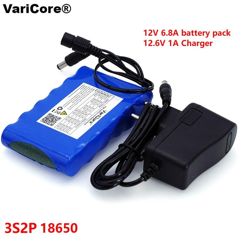 VariCore portátil Super 18650 batería de iones de litio recargable capacidad DC 12 V mAh 6800 CCTV Cam Monitor 12,6 V 1A cargador