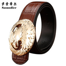 Male strap genuine leather cowhide smooth buckle denim commercial old-age belt casual pants belt