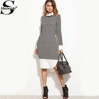 Sheinside Houndstooth Contrast Curved Hem Combo Dress Ladies Knee Length Long Sleeve Elegant Dress With Zip