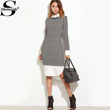 Sheinside Houndstooth Contrast Curved Hem Combo Dress Ladies Knee Length Long Sleeve Elegant Dress With Zip Work Wear Dress