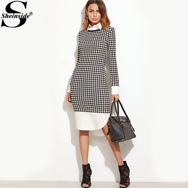 Aliexpress.com : Buy Sheinside Houndstooth Contrast Curved Hem Combo Shirt  Dress Ladies Knee Length Long Sleeve Elegant Dress With Zip Work Dress from  ...