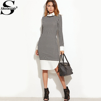 Sheinside Houndstooth Contrast Curved Hem Combo Dress Ladies Knee Length Long Sleeve Elegant Dress With Zip