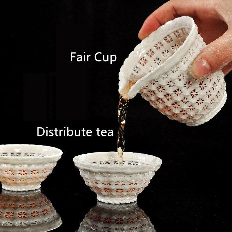 Kreative Hand woven Porzellan tee set Exquisite hohl keramik Kung Fu tee set Dehua weißem porzellan tee set hohe ende tee geschenk - 3