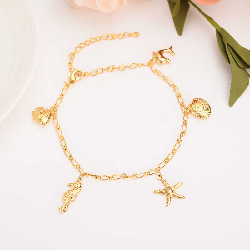 Christmas Chain Png.Png Charm Dolphin Shell Starfish Bracelet For Women Gold Christmas Gifts Cute Kids Girls Hand Chain Jewelry Anklets Arab Gift