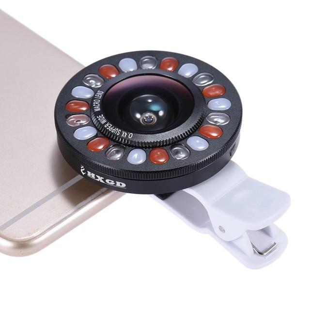 Clip-on led anillo de luz selfie suplementaria luz la iluminación de relleno con amplia lente gran angular y macro para iphone 6 7 htc lg xiaomi meizu