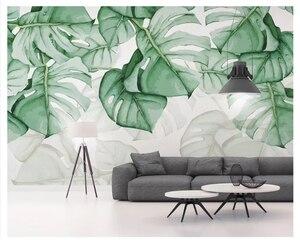 3d обои, маленькие свежие зеленые листья, растения, акварель, ТВ фон, обои, домашний декор