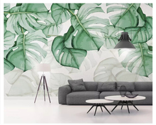 beibehang Modern personality fashion 3d wallpaper small fresh green leaves plant watercolor tv background wall papers home decor