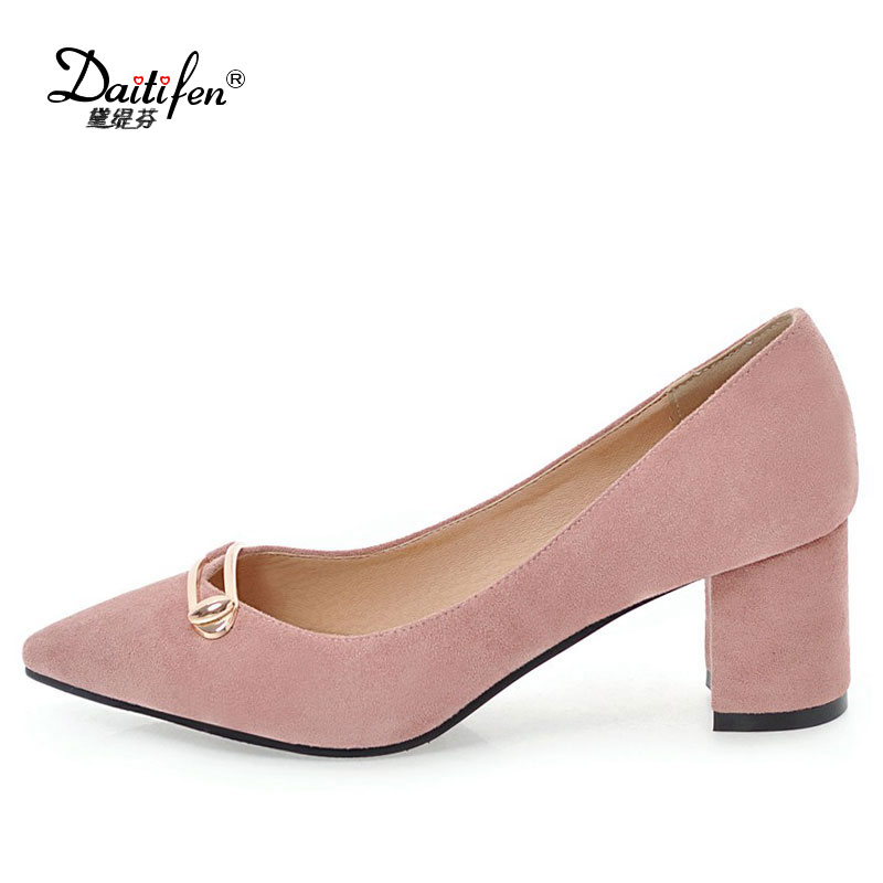 Daitifen  Autumn Women Pumps 6cm Fashion Sexy High Heels Shoes Metal buckle Pointed Toe Thin Heel Lady Wedding Party Women Shoes lady s pumps high thin heel spike heels mixed colors metal buckle elegant concise women wedding shoes 2015 high heels