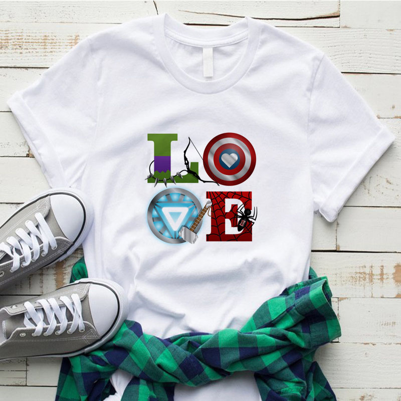 Women T Shirt Avengers LOVE War Paint Splatter Marvel Superhero Vintage Short Sleeve Shirt Cotton Top Cool Streetwear Casual Fit
