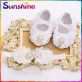 Rosette baby Christening baptism girl shoes headband set,sapato de bebe,kids Rhinestone/pearl crown Toddler baby boots 4 set/lot