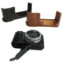 Pu Leather Case Half Body Cover Base For Panasonic TZ200 ZS220 TX2 Camera bag with Bottom Opening Version