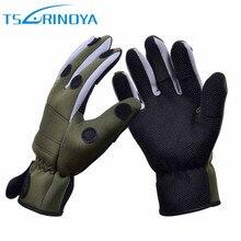 Trulinoya Breathable Anti-slip Fishing Gloves 1 Pair X XL Full Finger/Three Finger Neoprene Winter Gloves Outdoor Fishing Tackle