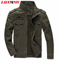 LONMMY 2016 autumn Fleece Mens army soldier Jacket Cotton Air Force One jacket male bomber jacket men military coat mens 6XL