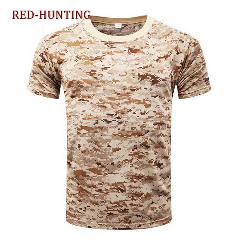 Outdoor Camouflage Shirts Camping Tactische T-shirts Mannen Wandelen Jacht Quick Dry Korte Mouwen Army Camo Militaire Shirts
