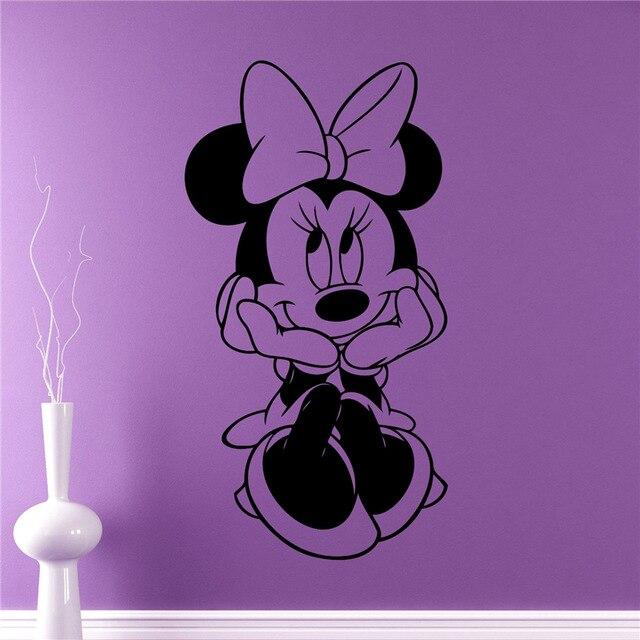 Minnie Mouse Wall Decal Cartoon Vinyl Sticker Wall Art Decor Childrens Kids Room Ideas Room Interior Removable Design