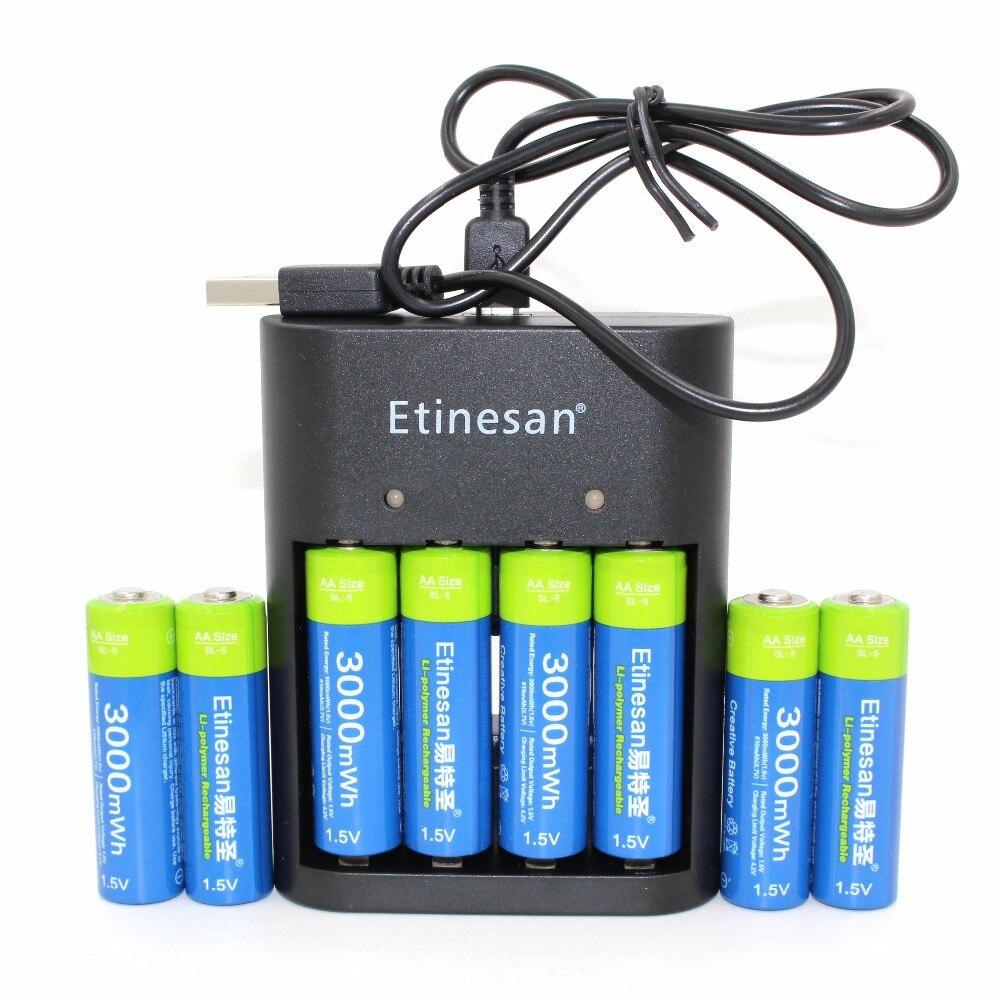 8 pcs/lot Etinesan 3000mWh AA batterie + USB chargeur, Li-polymère Li-po Lithium Lion Rechargeable Batterie pour Sans Fil écouteur,