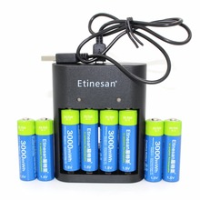 8pcs/lot Etinesan 3000mWh AA battery + USB charger , Li-polymer Li-Po Lithium Lion Rechargeable Battery for Wireless earphone,
