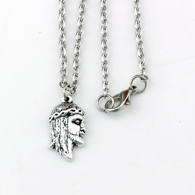 10pcs/lots Antique silver Jesus religion Alloy Charms Pendant Necklaces travel protection Pendants 23.6inches Chains