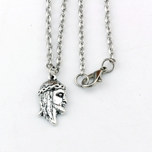 10pcs/lots Antique silver Jesus religion Alloy Charms Pendant Necklaces travel protection Pendants 23.6inches Chains