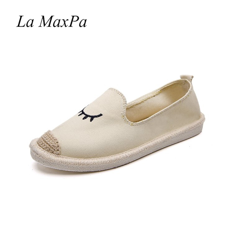 Women Shoes Hemp Canvas Board Slip-on Flat Low Loafers Shoes Soft Light and Super Comfortable Breathable Embroidered eyes Shoes women shoes 2018 new footwear slip on ballet hollow genuine breathable soft flat shoes women comfortable loafers shoes ladies