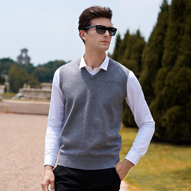 Sweater Men Solid V Neck Casual Male Sweater Vest Men Pullover Knitted Sleeveless Men Sweater Christmas M-3XL ...