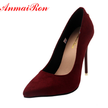 ANMAIRON Shoes Woman 5 Colors Plus Size 34-46 2016 Fashion High Heels Women Pumps Classic White Red Beige Sexy Wedding