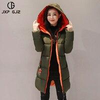 JXP GJZ Winter Women Jacket Coat Parka Black Zipper Full Sleeve Slim Thick Hooded Parkas Regular