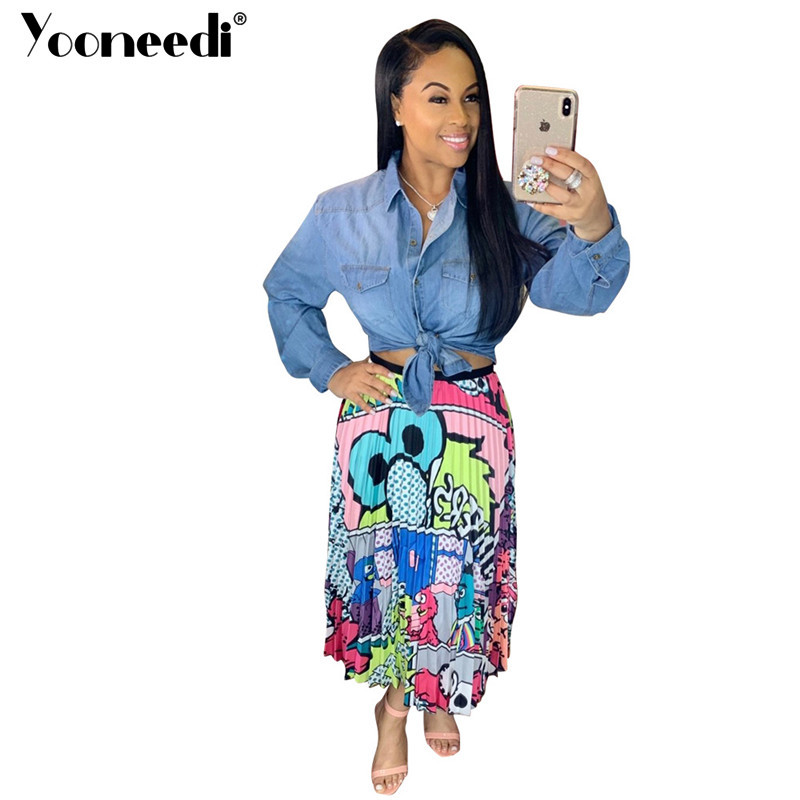 Conscientious Yooneedi 2019 Autumn New Arrival Style Women Skirts 3 Color Novelty Print Streetwear Ladies Skirt Lsd-8277 Be Friendly In Use