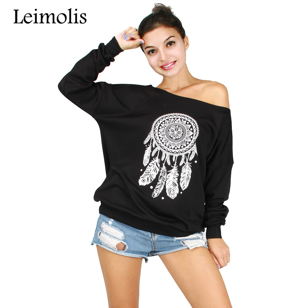 Leimolis 2017 Autumn off shoulder 3D print gothic Dreamcatcher harajuku kawaii hoodies p ...