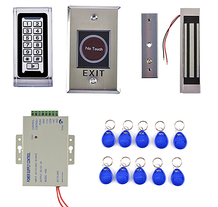 125KHz RFID IP68 Metal Keypad Access Control System Kit +180kg Magnetic Door Lock +No Touch Button diysecur touch button rfid 125khz metal keypad door access control security system kit magnetic lock for home office use