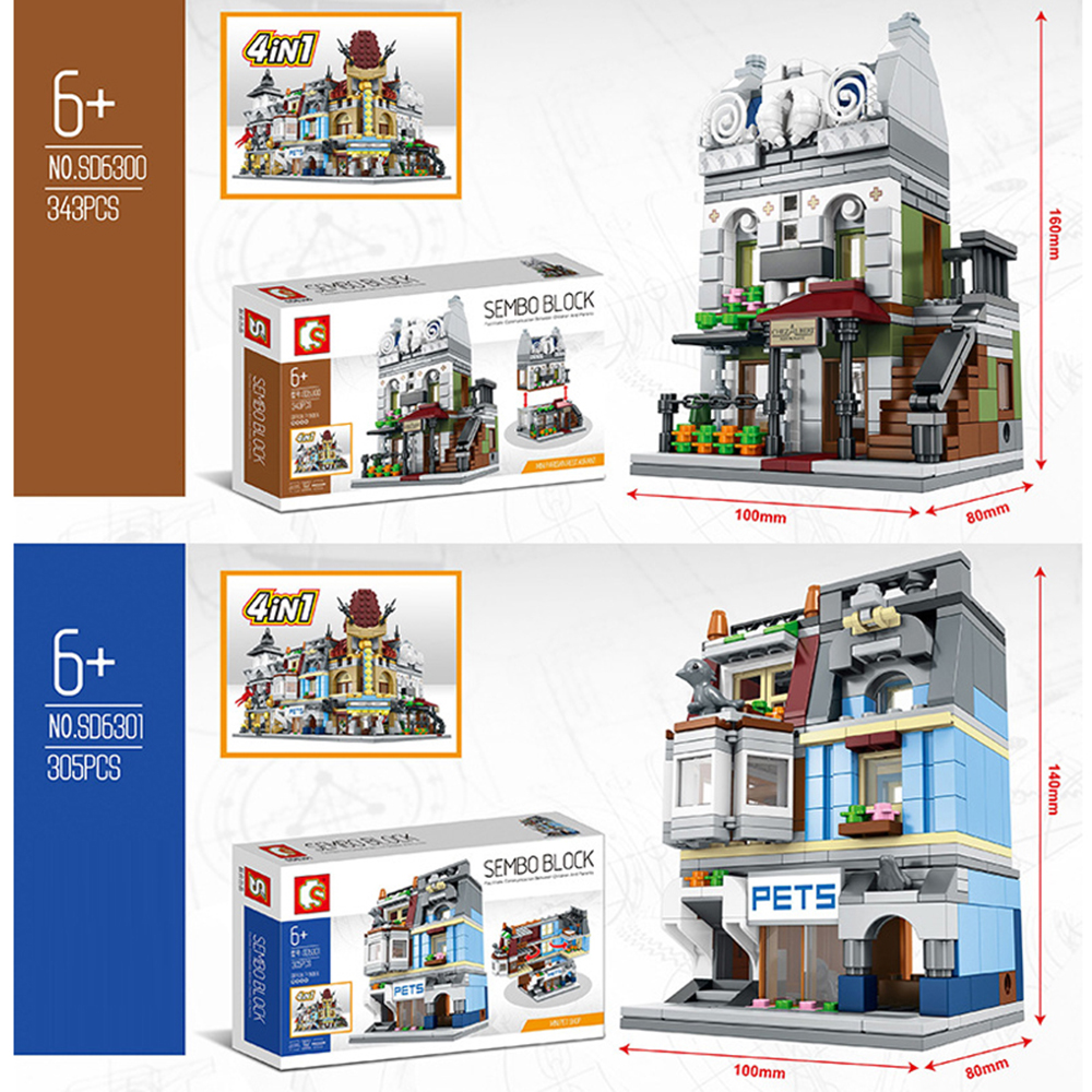 2pcs/Set Street View Building Blocks Toys Pet Shop Compatible With Legoe Ninjago Toys Paris Resturant Kids Gifts