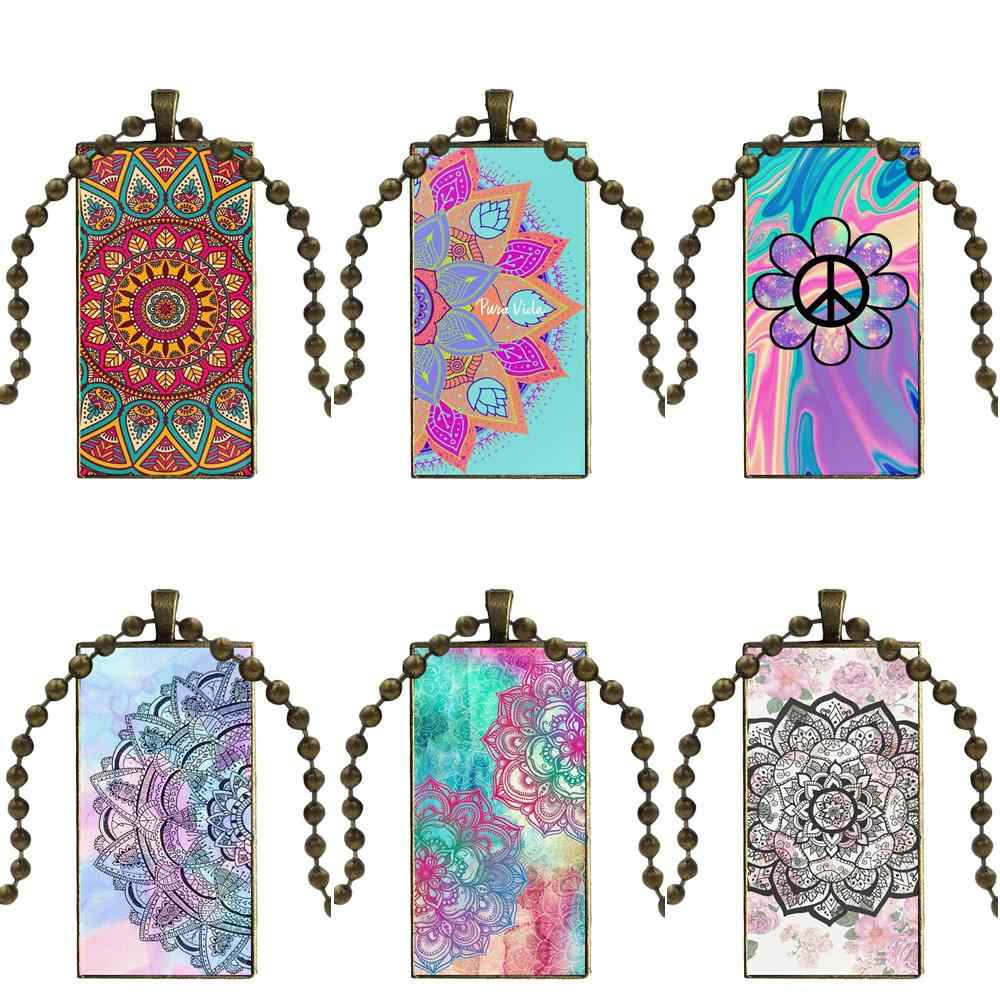 For Child Colorful Artistic Paisley Mandala Flower Glass Cabochon Pendant Necklace Rectangle Fashion Necklace