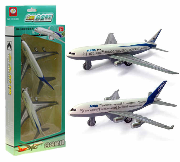 2PCS Aeroflot Boeing B777 Airbus Model A380 Children's Toy Simulation Alloy Aircraft Color Box Packaging Boy Birthday Gift