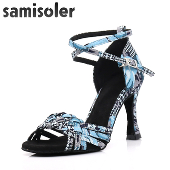 Samisoler 2019 New Women Latin  Dance Shoe Satin Sandal Ladies Dancing Shoes High Heel Soft Sole Straight