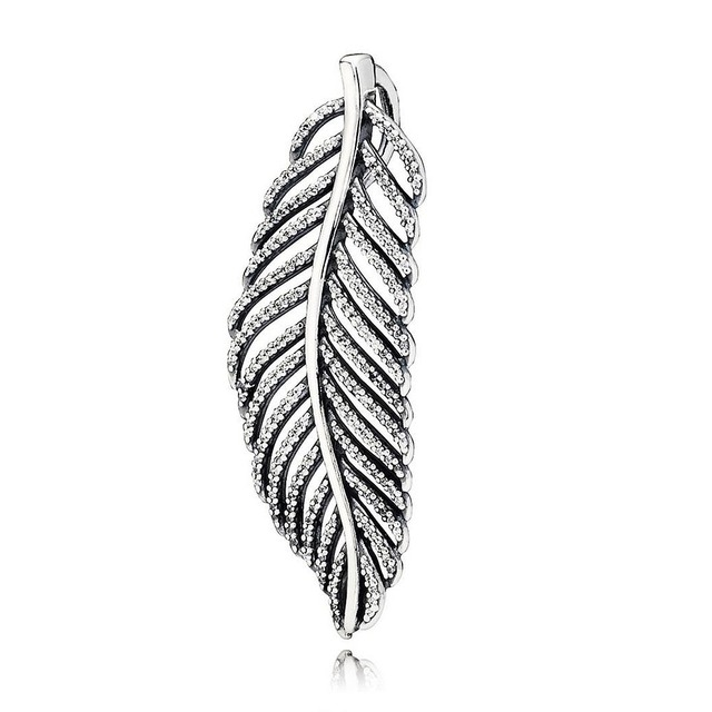 0de678fb4 New 925 Sterling Silver Bead Charm Sparkling Light As A Feather With  Crystal Necklace Pendant Fit