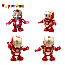 Marvel Avengers Action Figure Toy Led Flashlight With Light Sound Music Robot Iron Man Hero Electronic Can Dance