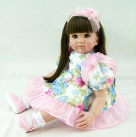 24/60 cm Colorful Dress Reborn Babies Doll Princess Girl Baby Doll Soft Vinyl Silicone Lifelike Toddler Doll Toys Gift