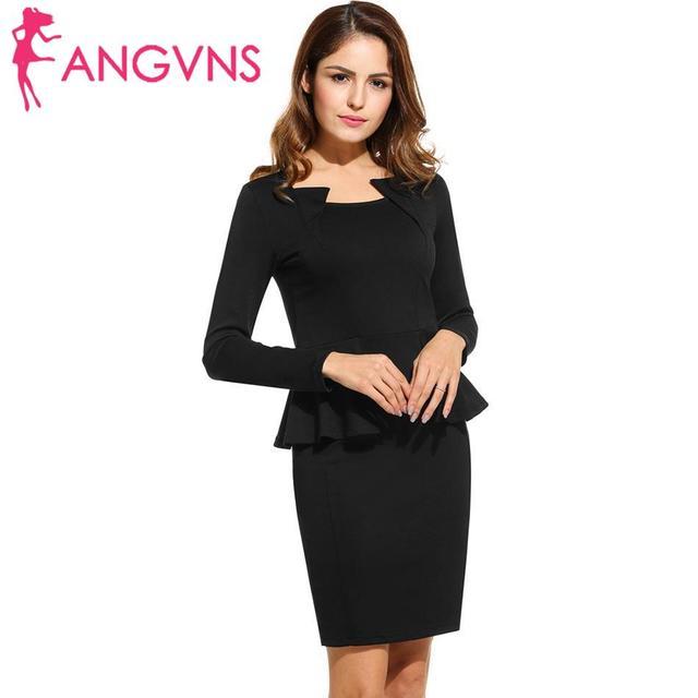 ANGVNS Sexy Pencil Dress Women Elegant Party Mini Short Tight Dresses  Business 2018 OL Casual Black Bodycon Vestidos Plus Size 55c998ebec8d